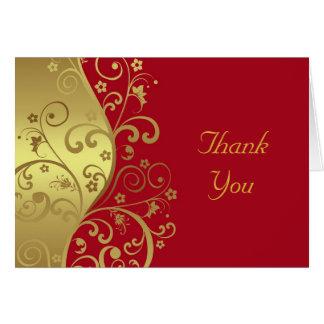 Dank u kaarden--Rode & Gouden Wervelingen Kaart