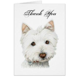 Dank u, leuk Westie hondwenskaart Briefkaarten 0