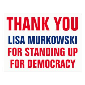 Dank u Lisa Murkowski Opstaand voor Democratie Briefkaart