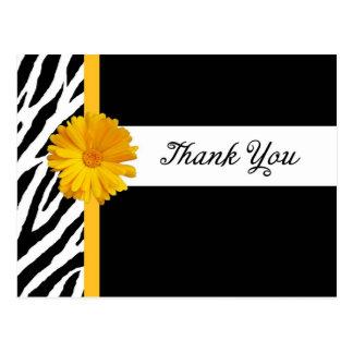 Dank u met Gestreepte Druk en Girly Gele Daisy Briefkaart