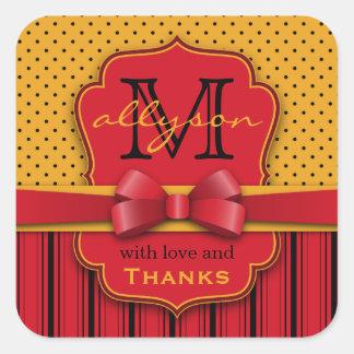Dank u Rode Strepen van de Stippen van het Vierkante Sticker
