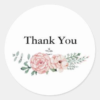 Dank u Ronde Sticker - het BloemenOntwerp van de