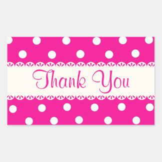 Dank u Roze Fuschia & de Witte Sticker van de Stip
