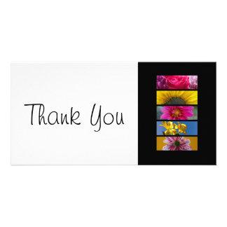 Dank u slanke Kaart - Roze & Gele MacroBloemen