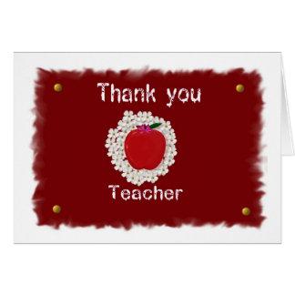 Dank u voor leraar, appel wenskaart