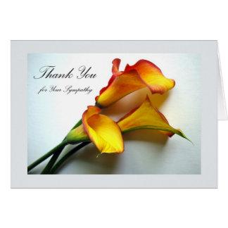 Dank u voor Sympathie, Calla Lelies Kaart