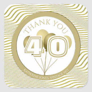 Dank u: Wit en Goud Om het even welke (SQ) Partij Vierkante Sticker