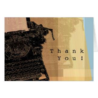 Dank u Zwarte Schrijfmachine Kaart