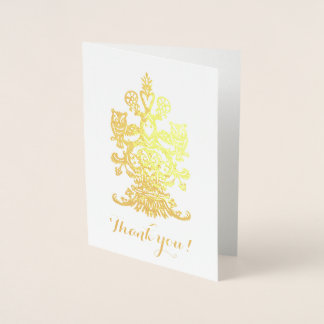 Dank yu gouden koninklijke uilen folie kaarten