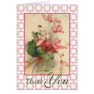 Danken de Roze Bloemen van de Cyclaam vintage Kaart