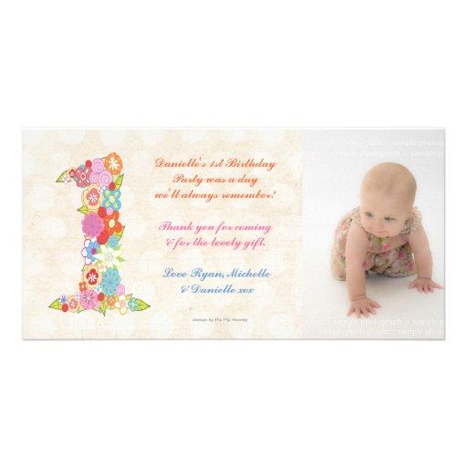 Dankt de 1st Verjaardag van het Baby van babys u d Fotokaart Sjabloon