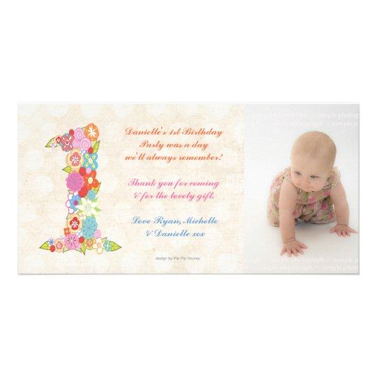 Dankt de 1st Verjaardag van het Baby van babys u Fotokaart