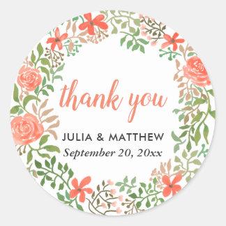 Dankt de BloemenKroon van de Waterverf van rozen u Ronde Sticker