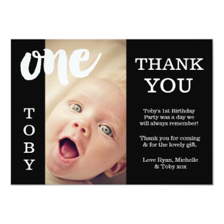 Dankt de Zwarte & Witte 1st Verjaardag van het 11,4x15,9 Uitnodiging Kaart