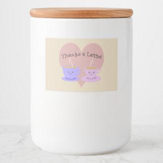 Dankt een Latte Voedselcontainer Etiket
