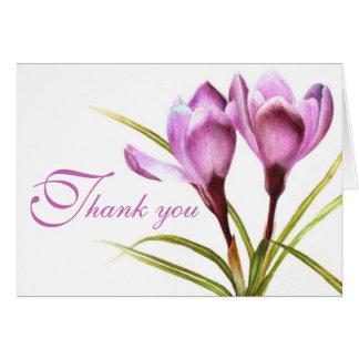 Dankt het paarse de bloemhuwelijk van de krokus u kaart