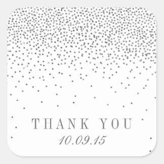Dankt het Zilveren Huwelijk van Confettien vintage Vierkante Sticker