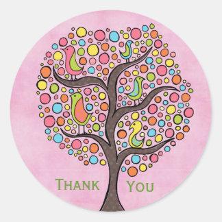 Dankt Retro Boom van de regenboog u etiketteert Ronde Sticker