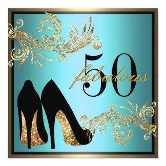Dansende Schoenen - de Fabelachtige 50ste 13,3x13,3 Vierkante Uitnodiging Kaart