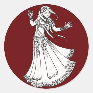 Danser van de Buik van de henna de Stammen Ronde Sticker