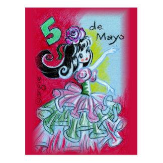 Danser van het Flamenco van Cinco DE Mayo de Briefkaart