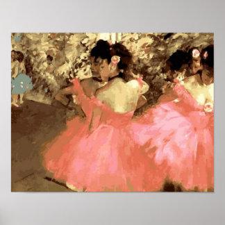 Dansers in Roze door Degas Poster