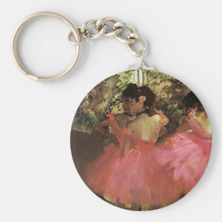 Dansers in Roze door Edgar Degas Keychain Basic Ronde Button Sleutelhanger