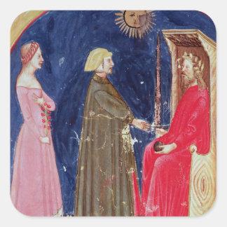 Dante en Beatrice vóór Justinian Vierkante Sticker
