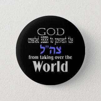 Dark van de God en van het Bier van Tzahal Ronde Button 5,7 Cm
