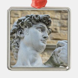 David van Michelangelo, Florence Italië Zilverkleurig Vierkant Ornament
