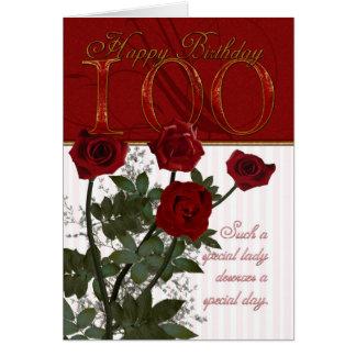 de 100ste Kaart van de Verjaardag met Rozen
