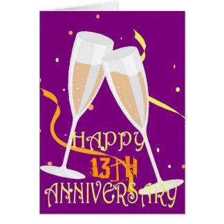de 13de champagne van de huwelijksverjaardag briefkaarten 0