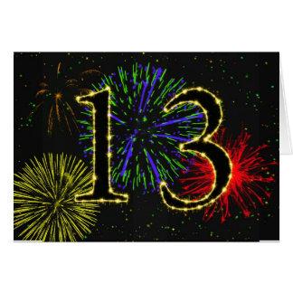 de 13de kaart van de Verjaardag met vuurwerk