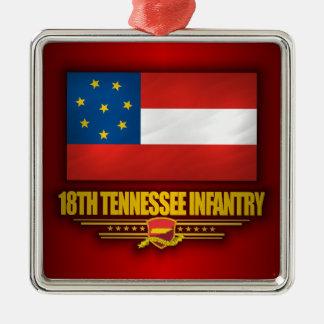 de 18de Infanterie van Tennessee Zilverkleurig Vierkant Ornament