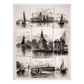 de 19de eeuw Maritieme Nederlandse scène Briefkaart