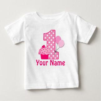 de 1st T-shirt van Cupcake van de Verjaardag Roze