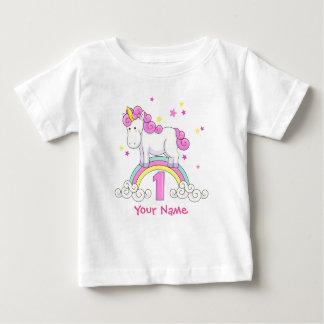 De 1st Verjaardag van de Regenboog van de eenhoorn Baby T Shirts