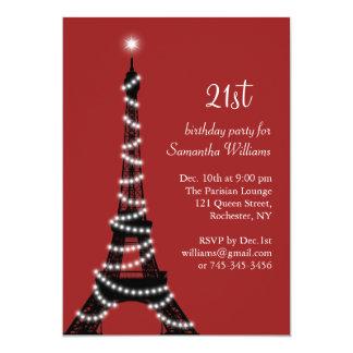 de 21ste het Fonkelen Eiffel van de Verjaardag 12,7x17,8 Uitnodiging Kaart