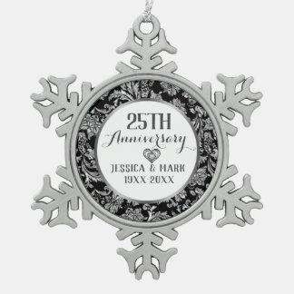 de 25ste Sjabloon van het Jubileum van de Zilveren Tin Sneeuwvlok Ornament