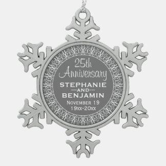 de 25ste Verjaardag van het Huwelijk met de Namen Tin Sneeuwvlok Ornament