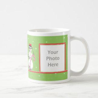 De 2-foto van de Sneeuwman van de Vakantie van Koffiemok