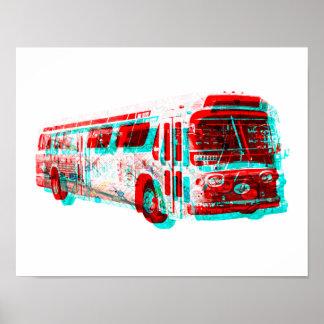 de 2D AC Oude School van de Bus van de Doorgang Poster