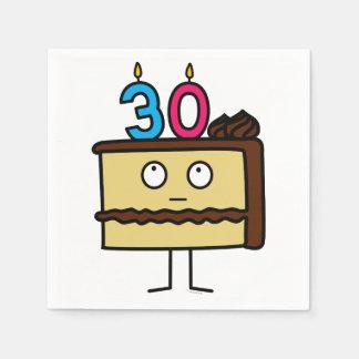 de 30ste Cake van de Verjaardag met Kaarsen Papieren Servetten