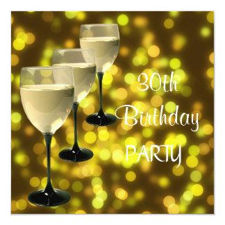 de 30ste Partij van de Verjaardag drink het Zwarte 13,3x13,3 Vierkante Uitnodiging Kaart