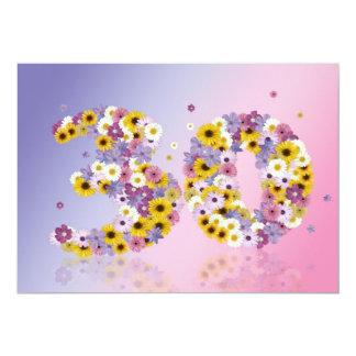 de 30ste partij van de Verjaardag, met gebloeide 12,7x17,8 Uitnodiging Kaart