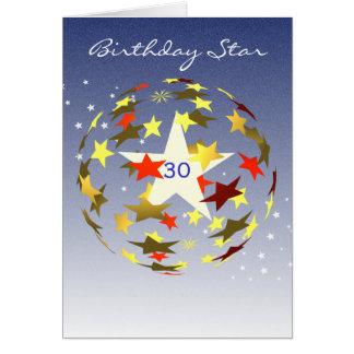 de 30ste Ster van de Verjaardag Wenskaart