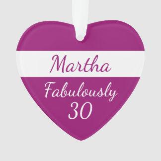 de 30ste Verjaardag personaliseert roze Ornament