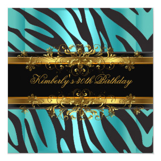de 30ste Zwarte van de Partij van de Verjaardag 13,3x13,3 Vierkante Uitnodiging Kaart
