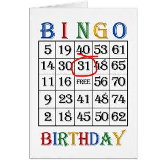 de 31ste kaart van Bingo van de Verjaardag