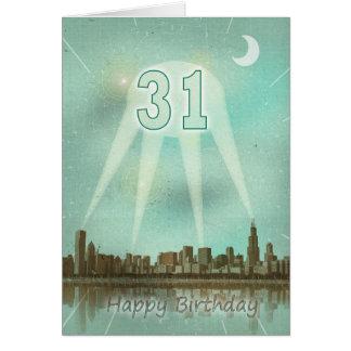de 31ste kaart van de Verjaardag met een stad en
